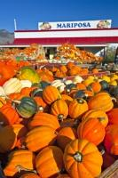 A display of pumpkins and produce at a Keremeos market stall in the Okanagan, British Columbia, Canada.