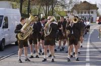 After weeks of preparation, the brass band is ready to lead the Maibaum procession in Putzbrunn, Germany.
