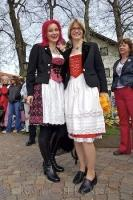 Traditionally dressed women at the Maibaumfest held each year in Putzbrunn, Germany.