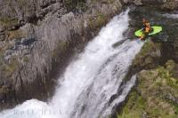 Kayaking down the Sauth Deth Pish in the Pyrenees is a extreme water sport loved by adventure tourists, Catalonia, Spain.