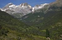 The Pyrenees mountains are a magnificent natural border between France and Spain in Aragon.