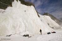 Cold winter months in Quebec City turns the falls in Montmorency Park to ice.