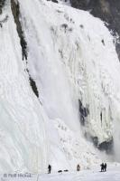 A typical scene during the winter at Montmorency Falls in Quebec, Canada.
