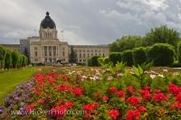 The grounds of the Legislative Building in the City of Regina in Saskatchewan, Canada is adorned with the vibrant colors of the blossoming flowers in the Queen Elizabeth II Gardens.
