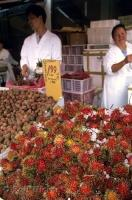 The Kensington Market in Chinatown, Toronto has a variety of fruit on display like the Rambutan.