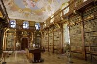 The monastic library at the Stift Melk in Austria, Europe has a wide selection of rare books from historic periods.