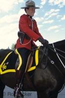 An RCMP member from the academy in Regina, Saskatchewan on a horse during a ceremony.