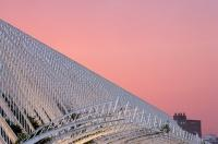 With the low cloud in the sky over the L'Umbracle, the city lights of Valencia, Spain created a red glow in the sky.