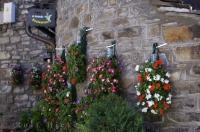 The stone walls of a restaurant in the village of Torla in Aragon, Spain are adorned with flowers that brighten up the exterior walls and the restaurant sign.