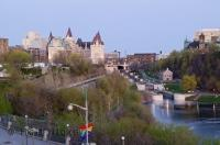 The attractive city of Ottawa has many highlights for visitors on vacation including the Rideau Canal seen here from Nepean Point.