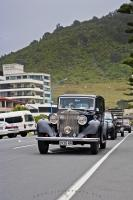 A beautiful 1935 Rolls Royce cruises the waterfront of Mt Maunganui in the Bay of Plenty on the North Island of New Zealand.