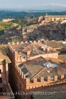 A rooftop view of the City of Siena in Tuscany, Italy as seen from the unfinished naves of the Duomo.