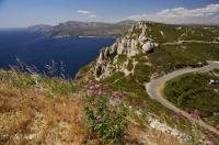 La Route des Cretes between the towns of Cassis and La Ciotat on the Mediterranean Sea in Provence, France in Europe.
