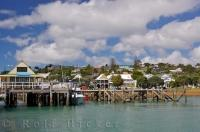 Historic but intriguing buildings line the waterfront in the town of Russell in the Bay of Islands on the North Island of New Zealand.