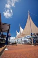 The sails stand outside the TSB Arena on Queens Wharf in Wellington on the North Island of New Zealand.