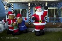 An inflatable Moose family and santa on display in Hoquiam, Grays Harbor in Washington.