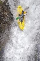 A kayaker descends the Sauth deth Pish, a popular kayaking sport in the Pyrenees, Spain.
