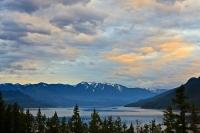An aerial view from the tree tops of Slocan Lake during sunset over the scenic Slocan Valley in Central Kootenay, British Columbia, Canada.