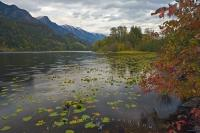 A beautiful scenic shot of Summit Lake in the Slocan Valley during the fall season in the Kootenay district of British Columbia, Canada.