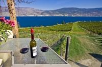 The terrace of Bonitas Winery is a wonderful place to stop and enjoy views over the vineyard and scenic Okanagan Lake in Summerland, BC, Canada.