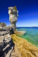 Beautiful sea stack formation, called the Flowerpot on Flowerpot Island in Lake Huron in Fathom Five National Marine Park.