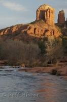 A great view of Cathedral Rock from Oak Creek near Sedona in Arizona, USA.