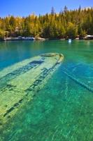 The intact stern of the Sweepstakes, a shipwreck in Big Tub Harbour in the popular Fathom Five National Marine Park, Lake Huron, Ontario, Canada.
