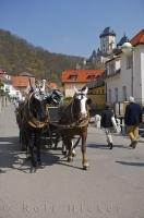 An easier way to enjoy sightseeing around the village of Karlstein in the Czech Republic is to embark on one of the horse and buggy rides.