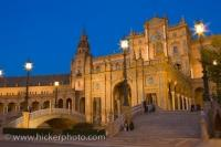 Sightseeing around the Plaza de Espana in the City of Sevilla in Andalusia, Spain is amazing especially as dusk begins to settle in around the area.