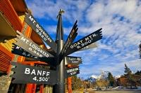 A multi-directional sign points out the mountains and their heights in the Town of Banff, Alberta, Canada.