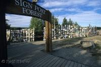 Thousands of signs on display at Sign Post Forest in Watson Lake in the Yukon Territory, Canada.