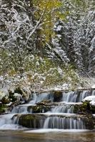 Snow Covered Waterfall Scenery Waterton Lakes National Park