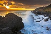 A dramatic nature coastline of rugged rocks, the Wairarapa is shaped by the rough Pacific Ocean as it surges up and down the shoreline and through the Cook Strait of NZ.