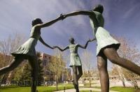 A sculpture situated on the grounds of the Brampton City Hall near Gage Park, Ontario, Canada.