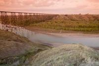 Crossing the Oldman River in Southern Alberta near Lethbridge is the High Level Railway Bridge.
