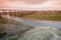 Crossing over the Oldman River the historic High Level Bridge leads into the heart of Lethbridge in Alberta, Canada.