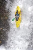 Running a waterfall, one of the most popular kayaking sports in the Catalan Pyrenees of Spain.