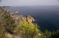 The Mediterranean Sea laps at the Spanish Coast at the Costa Brava area of Catalonia in Spain.