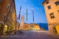 Dusk settles and the lights begin to shine in the Piazza III Novembre along the Lake Garda Waterfront in the resort town of Riva del Garda, in the Province of Trento, in the Trentino-Alto Adige region of Italy.