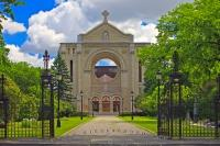 Dedicated in 1906, the St Boniface Cathedral in the city of Winnipeg was partly destroyed by fire in 1968 which left only the facade and a few sections of the walls remaining.