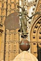 A replica statue of Giraldillo outside the Main South Door of the Seville Cathedral, a Roman Catholic cathedral in the city of Seville, Andalusia, Spain