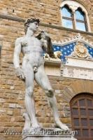 The statue of David stands outside the Palazzo Vecchio in Piazza della Signoria in the City of Florence in the Region of Tuscany, Italy.