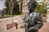 One of the prominent people of Red Deer, Alberta is cast in bronze as part of the towns Ghost Project.