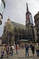The view of the incredible building of the Stephansdom Cathedral that stands in the centre of downtown Vienna, Austria but it is a hard picture to capture without the many tourists.