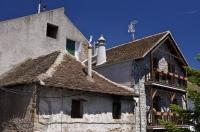 The stone houses in Hecho in Huesca, Aragon in Spain, Europe are typical of the villages in the Pyrenees mountain range.