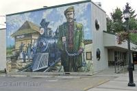 A wall mural relating to the history of the town of Stony Plain in Edmonton, Alberta.