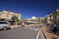 A typical scene on the street in the city of Monte Carlo on a fine and sunny day in Monaco.