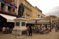 The bronze statue of Admiral comte Pierre Andre de Suffren can be seen on the Quai Suffren in the town of St. Tropez, in Provence, France.