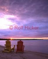 Chairs at sunset on Lake Huron in Ontario, a getaway vacation spot