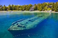 A watery grave in Big Tub Harbour is the final resting place for the shipwreck of the ship Sweepstakes in the Fathom Five National Marine Park, Lake Huron, Ontario, Canada.